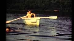 Middle America ,1949, rowing the boat Stock Footage