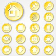 Vector abstract yellow round paper icon set - stock illustration