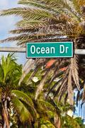 ocean drive sign in south beach, the famous art deco street in miami - stock photo