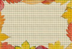 frame composed of colorful autumn leaves with papper - stock illustration
