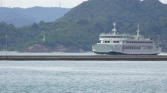 Ferryboat Travels In Harbor At The Island Of Naoshima Japan 4K Stock Footage