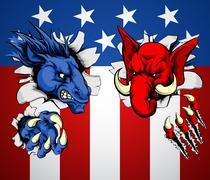 Politics republican democrat concept Stock Illustration