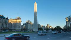 Argentina Buenos Aires Obelisk time lapse at sunrise Stock Footage