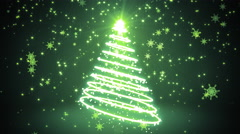Green Glowing Light Streaks Christmas Tree Stock Footage