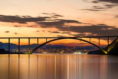 Bridge to Krk Island at sunset, Croatia - stock photo
