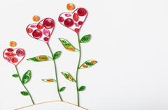 flowers made of paper quilling technique - stock photo