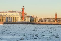 View of saint petersburg. spit of vasilievsky island in winter Stock Photos