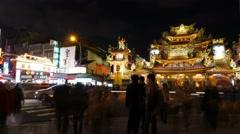 Raohe street night market Stock Footage