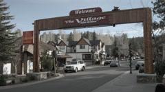 Big Bear Lake, The Village, entry sign Big Bear Boulevard shops & restaurants Stock Footage