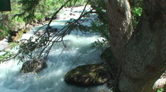 the rough mountain river with pure water - stock footage