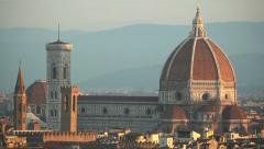 Florence city center with panoramic view on Santa Maria del Fiore Cathedral Stock Footage