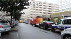 France Lyon - police and fire brigade Stock Footage