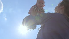 Baby 5m lift sunny sky Stock Footage