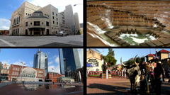 Split Screen Video: Sightseeing Locations in Fort Worth Texas Stock Footage
