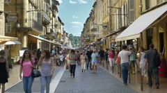 Pedestrian shopping street - Sarlat France Stock Footage