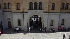 Neuschwanstein Castle Bavarian Alps Germany courtyard 4K 099 Stock Footage