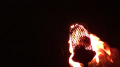 Pagan festival. torch with fire and hooded woman.Halloween party Stock Footage