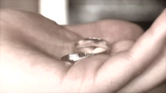 Wedding ring in his hands Stock Footage