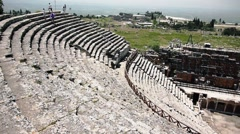 Panoramic View Of An Ancient Amphitheater - stock footage