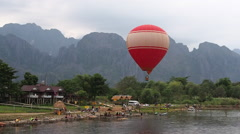 Balloon Landing in Vang Vieng, Vientiane Province, Laos Stock Footage