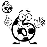 Number six with soccer ball skin and smiling face Stock Illustration