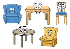 assorted furniture with smiling face design - stock illustration