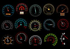 assorted colored speedometers on black background - stock illustration