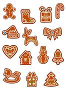 Assorted brown christmas cookies graphics Stock Illustration
