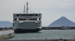 Japanese Ferry Boat Leaving Port Harbor Island Of Naoshima 4K Stock Footage