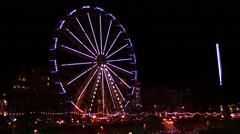 Big Wheel Carousel at Edinburgh in Christmas Time Stock Footage