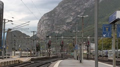 Railway station in the French Alps - Grenoble Stock Footage