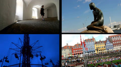 Split Screen Video with Four Panel View of Sightseeing spots in Copenhagen Stock Footage