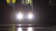 Cleaning the surface of ice rink in Toronto at night Stock Footage