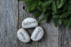 Hope, dream, believe in christmas with pine needles on rustic wood background Stock Photos