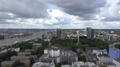 Hamburg aerial, Harbour and Tango Towers Stock Footage