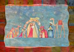 Christmas Nativity scene. Jesus, Mary, Joseph Stock Illustration