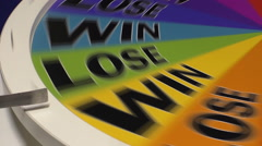 Wheel of fortune lands on Win - stock footage
