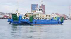 Ferry moving in Klaipeda port 4k Stock Footage