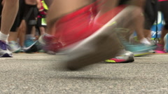Close up of marathon runners shoes - stock footage