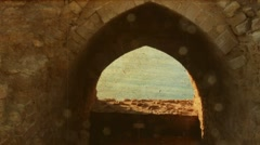 Ancient Apollonia fortress  with  grunge and  old movie effects Stock Footage
