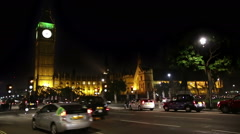 London Parliament night traffic time lapse - stock footage