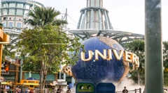 4k Ultra HD time lapse video of Universal Studio spinning globe Stock Footage