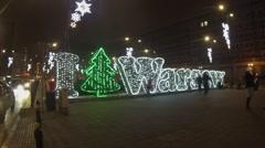 Warsaw christmas illuminations Stock Footage