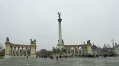 Hero Square in Budapest Stock Footage