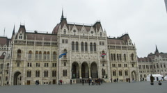 Houses of Parliament in Budapest Stock Footage