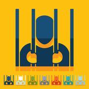 Flat design: prisoner - stock illustration