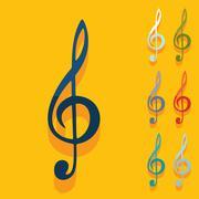 Stock Illustration of Flat design: treble clef