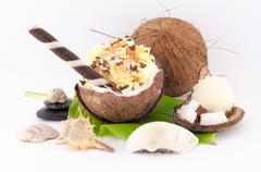 Coconut, Shells and Coconut Sweets Stock Photos