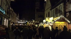 4k Medieval location Christmas fair with yellow christmas tree Stock Footage
