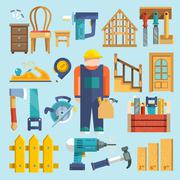 Carpentry icon flat Stock Illustration
